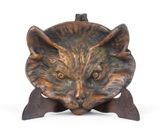 1B905 Régi cicás bronz hamutál 11 cm