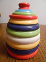 Konyhai tároló tartó fűszertartó porcelán csíkos 15*10*10 cm
