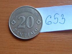 """LETTORSZÁG 20 SANTIMU 1992 """"Bayerisches Hauptmünzamt"""", (Germany) # 653"""