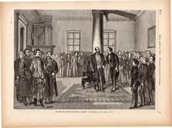 Az osztrák császár Innsbruckban, metszet 1871, 22 x 31 cm, Ferenc József, monarchia, újság, Tirol