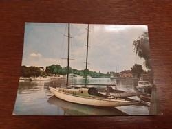 Retro képeslap Balaton vitorlás hajó