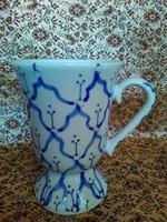 LEÁRAZTAM! Retró stílusú, kézzel festett, kék -fehér porcelán tejes kávés, kapucíneres poharak