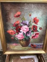 Csendélet, olaj, vászon festmény, 60 x 50 cm-es, lakberendezéshez.