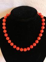 Antik Korallt imitáló nyaklánc, pazar kapoccsal