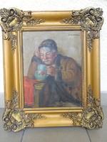 """Horváth György Andor /1876-1966/ """"Mulató Paraszt"""""""