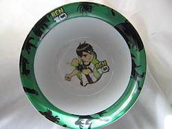 Ritka BEN 10 porcelán gyerek tányér, müzlis tálka