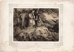 Képek Magyarország történetéből (13), litográfia 1873, kőnyomat, eredeti, történelmi, 21 x 29, tatár