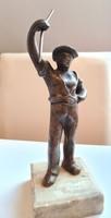 Hétvégi akció! A történelem lenyomata vagyok, vegyen meg valaki!:))Bronz szobor, munkás