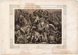 Képek Magyarország történetéből (15), litográfia 1873, kőnyomat, eredeti, történelmi,21 x 29, csata
