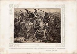 Képek Magyarország történetéből (7), litográfia 1873, kőnyomat, eredeti, történelmi, Szent László