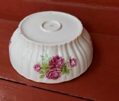 Zsolnay Gyönyörű rózsás ,  porcelán pogácsás tál,  paraszti dekoráció, Gyűjtői darab