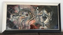 Rác András hidegzománc Kompozíció 1999. 93 cm x 51 cm kerettel együtt