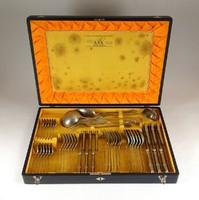 1B960 Antik WELLNER alpakka evőeszköz készlet eredeti dobozában 47 darab