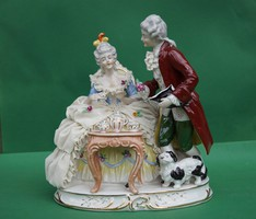 GDR Lippelsdorf Dresden német csipke porcelán barokk pár csipkeruhás hölgy teadélután kutyussal