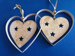 2 db függeszthető karácsonyfadísz fa/fém antikolt szív