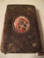 TÜRKIZKÖVES -1869-ES,ANTIK BŐR IMAKÖNYV aranyszegélyes 460 oldal