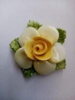 Retro  porcelán rózsa bross kitűző
