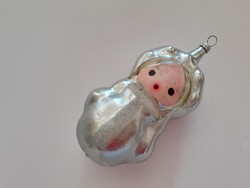 Régi üveg karácsonyfadísz orosz Matrjoska baba üvegdísz