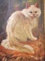 Dénes Mesterházy: white Persian cat,