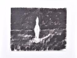 Borsos Miklós (1906-1991): Női torzó a vízben, tusrajz