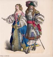 Viselettörténet (3), litográfia 1885, öltözet, ruha, divat, német, francia, történelem, nemes