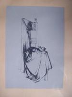 Barcsay Jenő (1900-1988) : Csendélet drapériával papír szitanyomat 32x22,75 cm jelezve jobbra lent