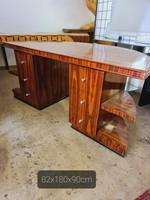Nagy méretű art deco íróasztal-tárgyalóasztal