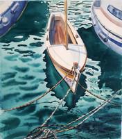 Csónak, akvarell, 25x38
