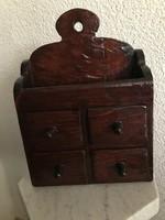 Régi négy fiókos fa fali fűszertartó