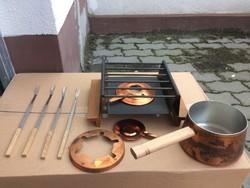 Régi fondue készlet eredeti dobozzal-újszerű