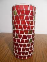 Váza gyertyatartó mécsestartó üveg mozaik piros zöld 20*9 cm