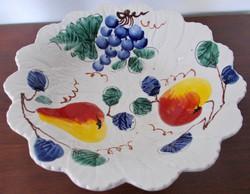Gyönyörű, itáliai majolika asztalközép, kínáló vagy gyümölcstál, kb. 1950-es évek