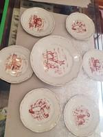 Zsolnay vadász jelenetes süteményes készlet