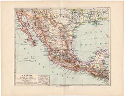 Mexikó térkép 1892, eredeti, Meyers atlasz, német nyelvű, Amerika, közép, Guatemala, Honduras, óceán