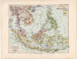 Maláj - szigetvilág térkép 1892, eredeti, Meyers atlasz, német nyelvű, Ázsia, sziget, Borneó