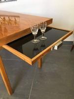 Extra ritka retro dohányzó asztal kihúzható üvegtálcával