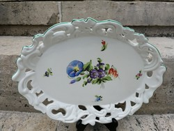 Herendi  virágmintás vastag nehéz festett asztalközép, kínáló! Gyümölcs tál, süteményes tálnak!