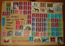 80 db bélyeg 1 borítékon fantasztikusan gyönyörű totál dekorált levél angliából légiposta KIÁRUSÍTÁS