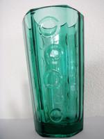 Retro türkiz vastagfalú üveg váza régi üvegváza 17,5 cm