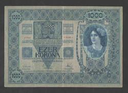 1000 korona 1902.  VF+!!  Bélyegzés nélküli!! NAGYON SZÉP!!  RITKA!!