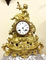 Francia asztali,kandalló óra,1800-s évek vége,felesütő,tökéletesen működő