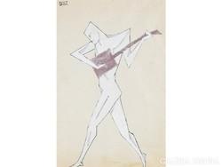Byssz Róbert( Berkenyéd, 1893 - Budapest, 1961 ): Táncos mandolinnal      tus, tempera, fedőfehér