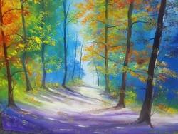 Őszi fasor, kortárs festmény