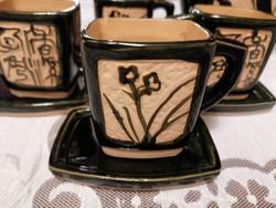 Nagyon különleges, keleti, kézzel készített, négyszögletes kerámia kávéskészlet!