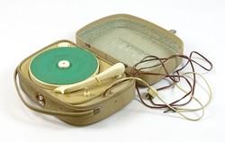 0T402 Régi csehszlovák táska lemezjátszó készülék SUPRAPHON ~ 1960