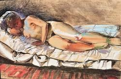 Topor András (1944 - 1997) Alvó akt c. festménye EREDETI GARANCIÁVAL !