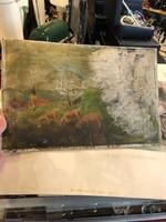 Impresszionista bárányok, olaj, karton, sérült, 28 x 43 cm-es.