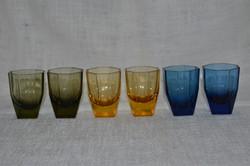 6 db retro színes likőrös pohár  ( DBZ 00118 )