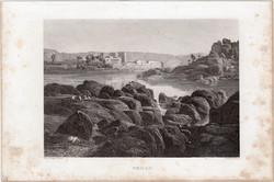 Philai, acélmetszet 1840, eredeti, 11 x 16 cm, metszet, Egyiptom, Afrika, ókor, Philae, templom, rom