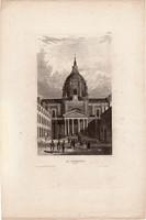 La Sorbonne, acélmetszet 1850, eredeti, 10 x 16, metszet, Párizs, Franciaország, Európa, egyetem